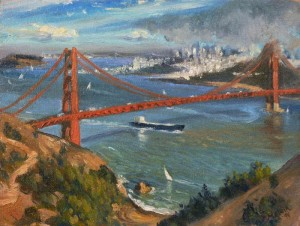 Golden Gate Bridge, oil on board.