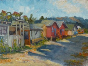 Shacks, Sausalito, oil on canvas