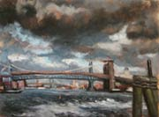 "Patricia Melvin, ""Brooklyn Bridge, Stormy Sky"""